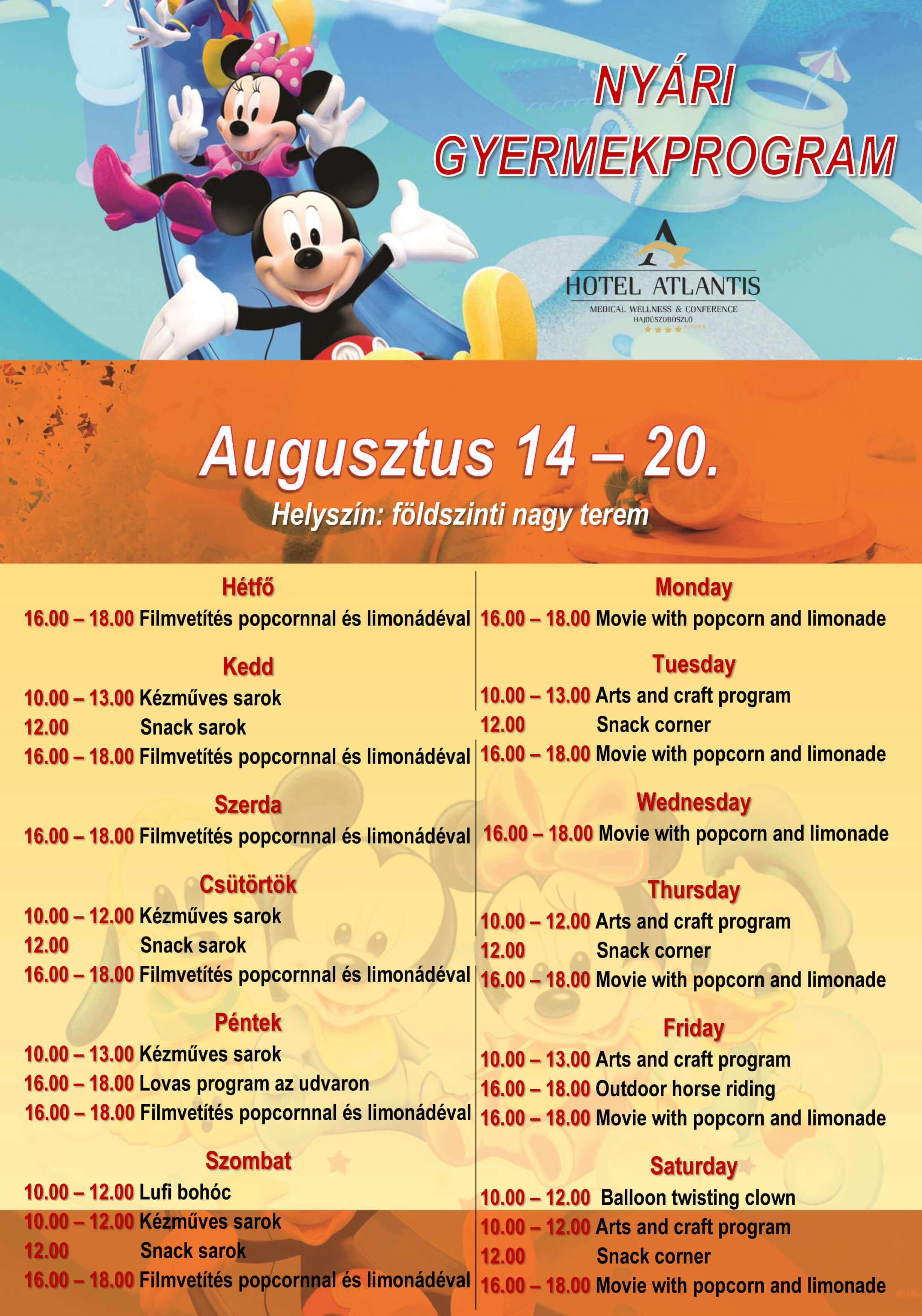 Nyári gyermekprogram | Summer child programmes | Hotel Atlantis